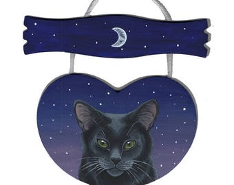 Black Cat Heart Shaped Wooden Sign