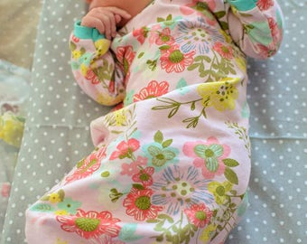 Floral Baby Gown, Coming Home Outfit Girl, Mermaid Baby Gown, Baby Bonnet, Newborn Hat, Baby Mermaid Baby Outfit, Vintage Inspired Baby