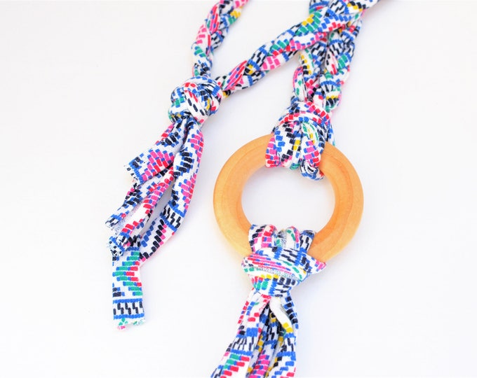 Bright Tug & Pull Teething Tassel Necklace | Brightly Speckled Teething Necklace | Bright Tassel Necklace