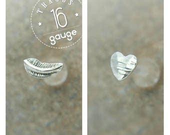 16 Gauge Tragus Stud - Tragus Earring Heart - Feather Tragus Stud - Flat Back Tragus - Custom Piercing - Gift for Her - Tragus Set