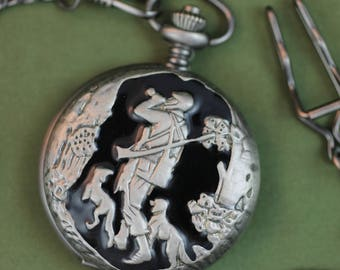 Quartz Pocket Watch  •  Hunter with Dogs  •  Free Shipping! Gun Metal Grey & Black Case  •  Working and Ready for Use