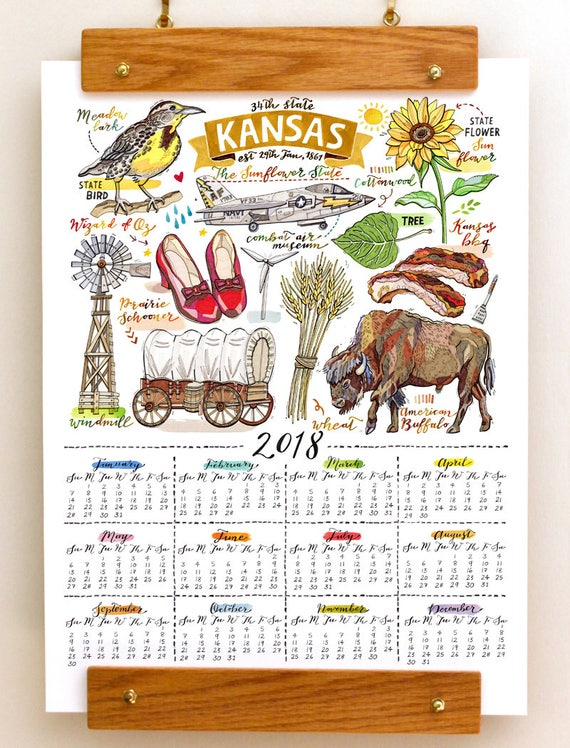 Calendar Art Ks : Kansas wall calendar home decor state art