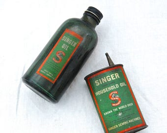 Advertising Vintage Collectables - SINGER - Household OIL Can / TIN & Singer Oil Bottle - Sewing Machines