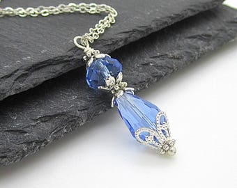 Blue Crystal Bridesmaid Necklaces, Blue Crystal Tear Drop Jewellery, Matching Bridal Sets, Capri Weddings, Bridesmaid Gifts Crystal Dangles