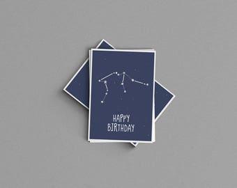 Aquarius Constellation Birthday Card