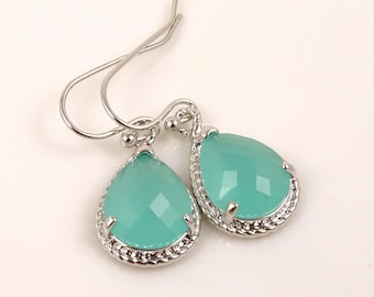 Mint Green Bridesmaid Jewelry // Teardrop Shaped Silver Earrings // Chic Gifts for Coworkers