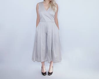 pleated culotte romper jumpsuit jumper pantsuit wedding bridal