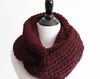 Crochet infinity scarf - The Chicago - in Burgundy - Ready to Ship
