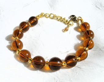 Brown amber and gold Glass Bead Bracelet