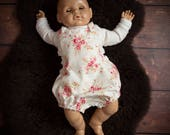 Baby Rompers Vintage Floral Photo Shoot / Photography Outfit 6 - 12 Months Cream / Pink