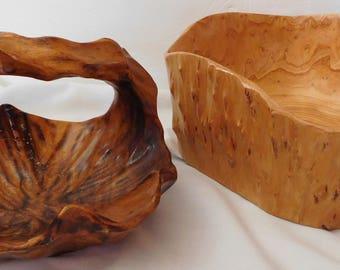 BURL WOOD bowl & arch handled basket hand carved