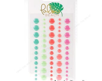 """My Minds Eye """"Palm Beach"""" Enamel Dots - 60 pieces 5 colors - Summer Tropical Pink Coral Aqua - Planners Decoration Paper Crafting Scrapbooks"""