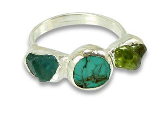 Stackable Turquoise Ring, Silver Stacking Ring, Turquoise Silver Ring, Turquoise, Peridot, Apatite ,Raw Stone Ring, Gemstone Ring, Silver .