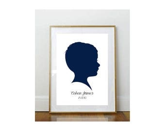 8 x 10 Child Silhouette // Custom Child Portrait // Child Portrait Silhouette // Custom //  8 x 10 Print  //  Keepsake // Personalized Print