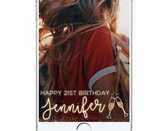 Birthday Party Geofilter, 21st Birthday Snapchat Filter, Neon Snapchat Geofilter, Vegas Bachelorette Geofilter Champagne