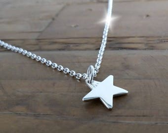 Silver Star Necklace, Little Star Necklace, Sterling Silver Star Layering Necklace on 22 inch Belcher Chain