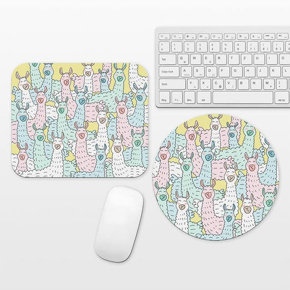 Llama Mousepad Fun Mouse Pad for Kids Cool Mouse Pad Colorful Mouse Pad for Her Art Mouse Pad Round Desk Accessories School Office Supplies