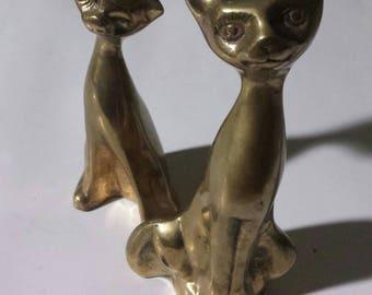 Vintage Mid-century Pair of Bronze Cat Statues