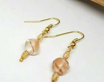 Peach Gold Foil Earrings - Peach Earrings - Gold Earrings - Foil Earrings - Gifts for Her