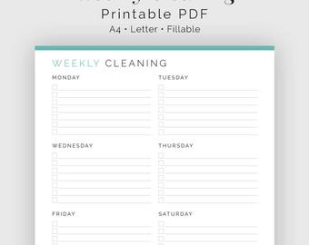 Weekly Cleaning Checklist - Fillable - Printable PDF - Household Binder, Cleaning Kit - Instant Download