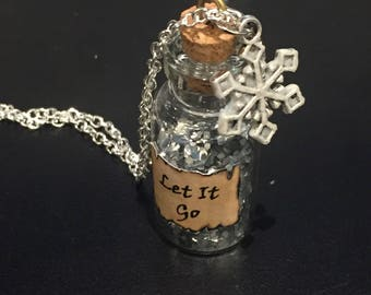 """Frozen Inspired Glow in the Dark Snowflake """"Let It Go"""" Vial Necklace - Collectible Gift"""