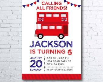 London Invitation, London Birthday, Bus Invitation, Transportation Invitation, Red Bus Invitation, 2 options, Digital Invitation