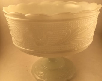 Vintage Milk Glass  E.O. Brody Milk Glass Pedestal Bowl Made In USA Fruit Bowl Milk Glass Planter Kitchen Decor