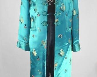 Beautiful Silk Turquoise Kimono style Duster / Robe