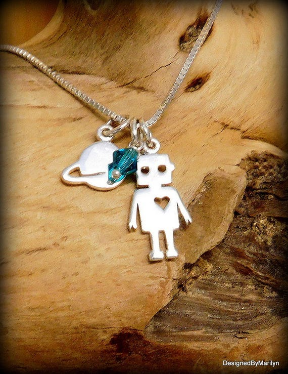 Sterling silver Space robot necklace, outer planet jewelry, Alien jewelry, geek or nerd jewelry, robiotics