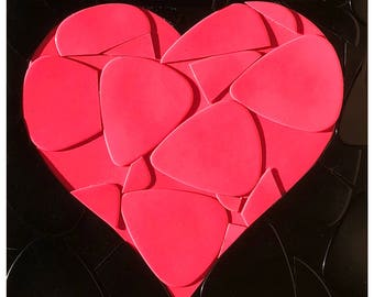 Pink Heart Guitar Picks on Canvas