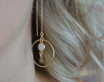 Hoop Earrings / hoop threader earrings / moonstone earrings/ star earrings