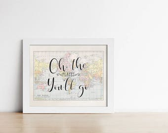 Oh the places etsy world map printable quote art oh the places youll go gumiabroncs Image collections