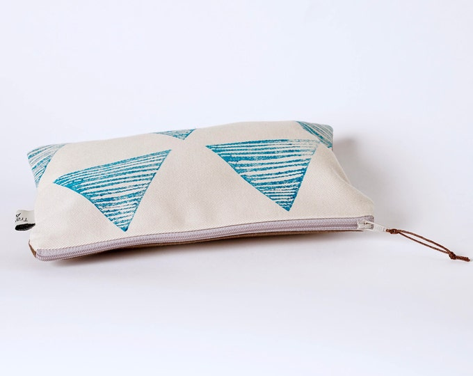 Medium Zipper Pouch - Turquoise Block Print