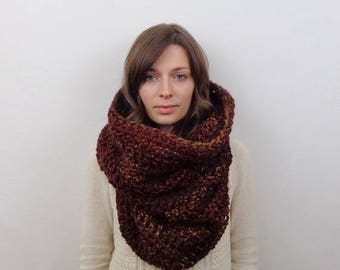SALE Giant Knit Cowl Scarf Oversized Chunky Cowl Hood Wool   THE POMPEII