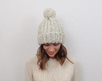 SALE Chunky Knit Pom-Pom Hat Wool Knit Toque | THE YUKON