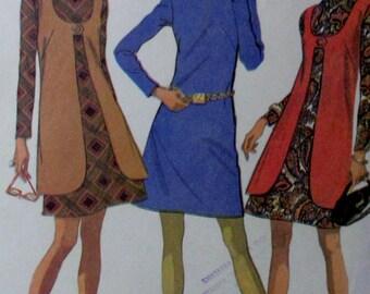 Vintage 1969  McCalls  Misses Dress and Vest #2085   Sewing Pattern Size 10 Bust 32 1/2