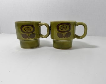 Vintage Mugs Cups Stacking Mugs Coffee cups tea cups hot chocolate mugs 1970s Japan brown flower