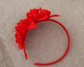 Haarreif Rosen Haarschmuck Rot knallrot mohnrot Hochzeit Kopfschmuck Frida Kahlo Blütenkranz Blütenschmuck Spitze headpiece Fascinator Haare