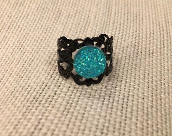 8mm Light Blue Faux Druzy Filigree Adjustable Ring