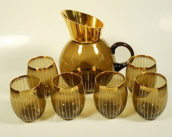 Vintage Mid Century German Smoked Glass and Gold Bar Set