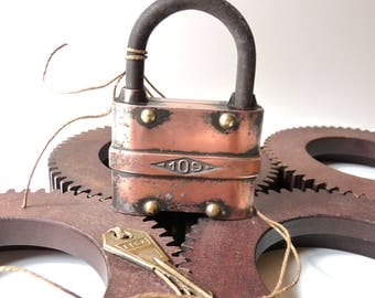 Antique lock and Key Copper and Brass Lock stamped EFSA 109 Collectible