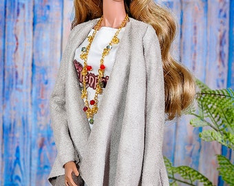 ELENPRIV light brown suede cardigan for Fashion royalty FR2 NuFace Barbie and similar body size dolls