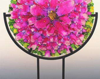 Pretty in Pink Fused Tempered Glass Disk