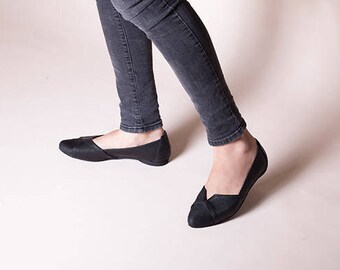 Elegant Flats, Skimmers , Womens Flats , Pointed-Toe Flats , Slip Ons , Handmade Leather Shoes, Flats, Black Shoes, Isabel // Free Shipping
