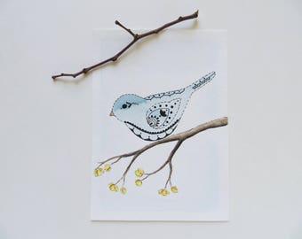 Watercolor painting, bird painting, ORIGINAL painting, henna bird, blue bird art, abstract bird, bird in branch, sweet bluebird painting