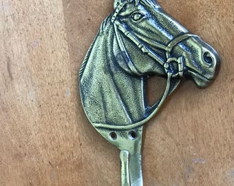 HORSE COAT HOOK Vintage Brass Metal Head and Neck, Bridle, Made in England, Gift Idea For Equestrian Fans, Lovers of Horses, Decorating