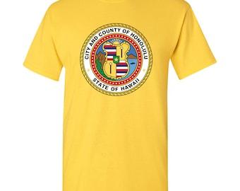 Honolulu City Flag T Shirt - Daisy Yellow
