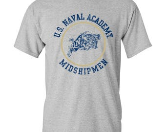 United States Naval Academy Distressed Circle Logo T Shirt - Grey