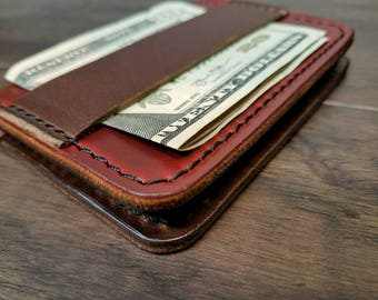 Money Strap wallet Horween Chromexcel and Cherry Cavalier leather.