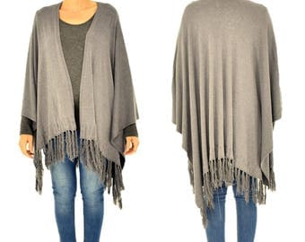 IM300GR poncho Cape fringed knit layered look grey